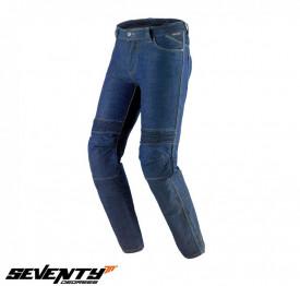 Blugi (jeans) moto barbati Seventy model SD-PJ6 tip Slim fit culoare: albastru (insertii Aramid Kevlar)