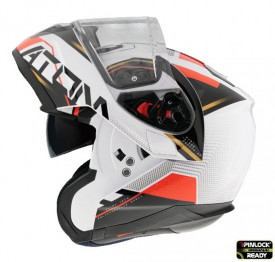Casca moto flip-up MT Atom SV Quark B5 rosu/alb lucios