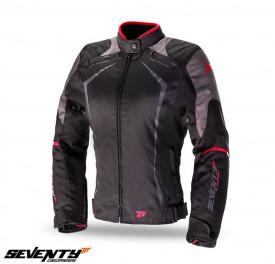 Geaca (jacheta) motociclete femei Racing Seventy vara/iarna model SD-JR49 culoare: negru/rosu