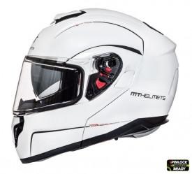 Casca moto Flip-up MT Atom SV alb lucios