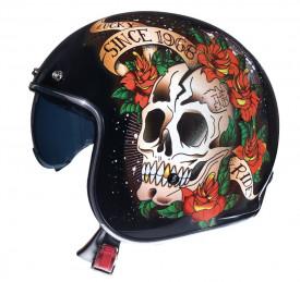 Casca open face motociclete MT Le Mans 2 SV Skull & Rose A1 negru/rosu lucios (ochelari soare integrati)