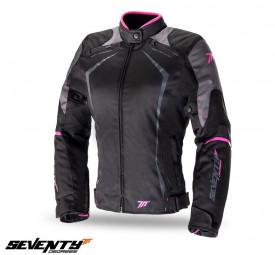Geaca (jacheta) motociclete femei Racing Seventy vara/iarna model SD-JR49 culoare: negru/roz