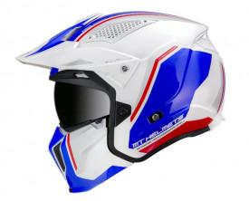 Casca MT Streetfighter SV Twin B7 alb/albastru lucios (ochelari soare integrati)
