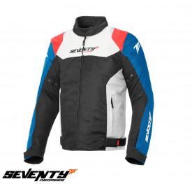 Geaca moto (jacheta) barbati Racing vara Seventy model SD-JR48 negru/rosu/albastru