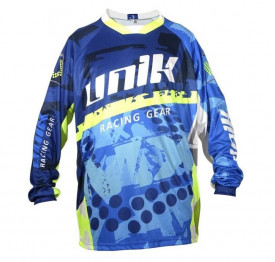 Tricou (bluza) cross-enduro Unik Racing model MX01 culoare: albastru/verde fluor