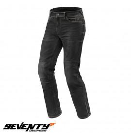 Blugi (jeans) moto barbati Seventy model SD-PJ2 tip Regular fit (cu insertii Aramid Kevlar)- negru