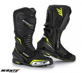 Cizme moto Racing Unisex Seventy Degrees SD-BR1 negru/galben fluor