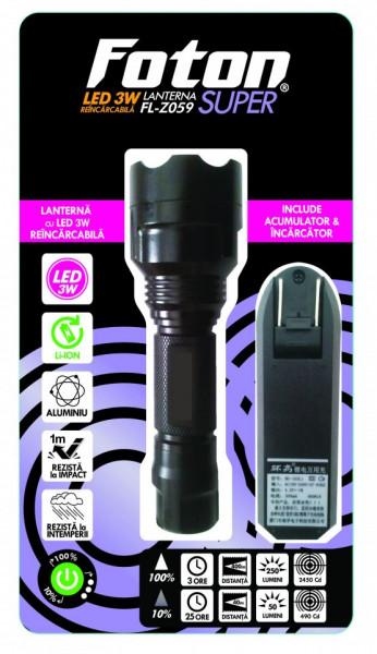 Lanterna Foton Super Z059 LED 3W acumulator Litiu