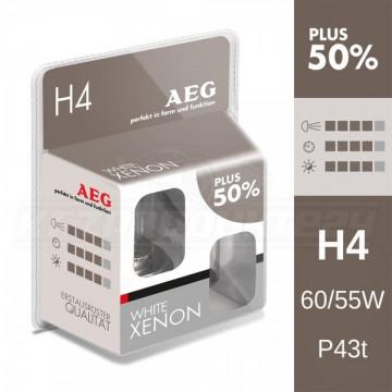 AEG set becuri auto H4 White Xenon Plus 50%