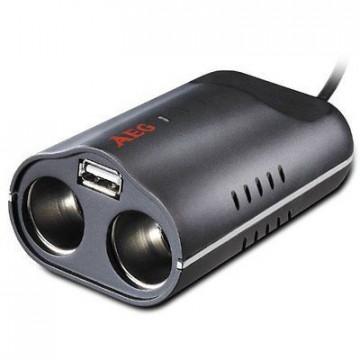 AEG DB 70 adaptor bricheta auto dubla+USB 1A