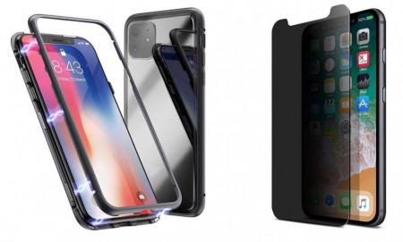 Husa Apple iPhone 11 PRO MAX Magnetica cu spate din sticla securizata si folie privacy pentru ecran, Perfect Fit