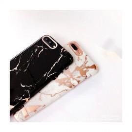 Husa Apple iPhone 6/6S, Elegance Luxury Marble Black TPU, husa cu insertii marmura neagra-aurie