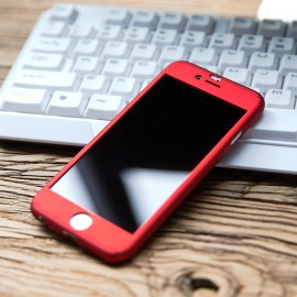Husa Apple iPhone 7, FullBody Elegance Luxury iPaky Red, acoperire completa 360 grade cu folie de sticla gratis