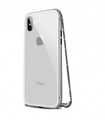 Husa Apple iPhone 8, Magnetica Argintiu, Perfect Fit cu spate de sticla securizata premium