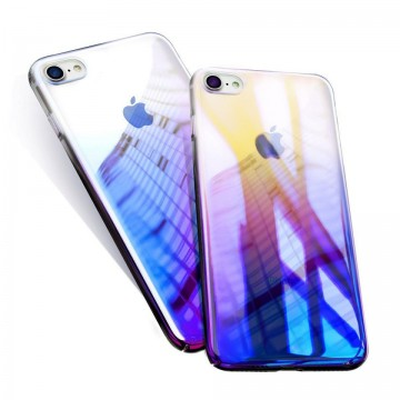 Husa Apple iPhone 8 Plus, Gradient Color Cameleon Albastru-Galben