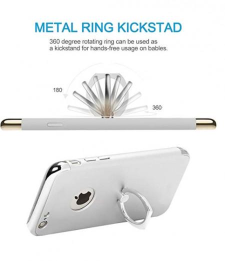 Husa Apple iPhone SE2, Elegance Luxury 3in1 Ring Argintiu