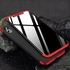 Husa Apple iPhone X, FullBody 360° 3in1 Negru-Rosu