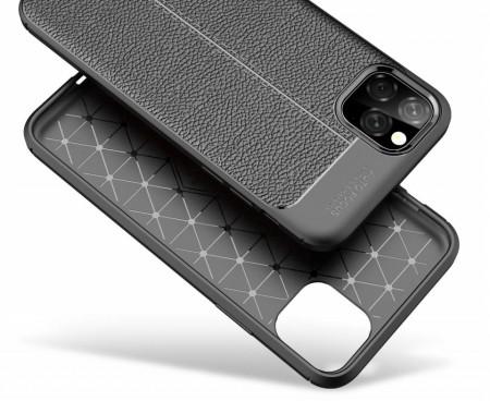 Husa pentru Apple iPhone 11 PRO MAX, Perfect Fit Black cu insertii de piele