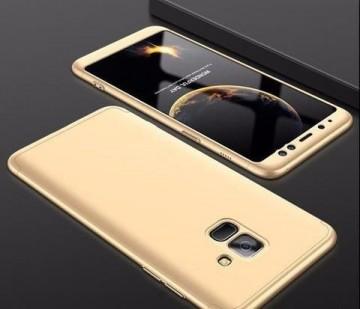 Husa Samsung Galaxy A8 2018, FullBody Elegance Luxury Auriu, acoperire completa 360 grade cu folie de protectie gratis