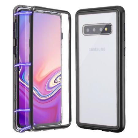 Husa Samsung Galaxy S10 Plus Magnetica 360 grade Black, Perfect Fit cu spate de sticla securizata premium + folie de protectie gratis