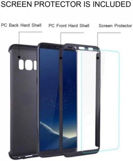 Husa Samsung Galaxy S8, FullBody Elegance Luxury Black, acoperire completa 360 grade cu folie de protectie gratis