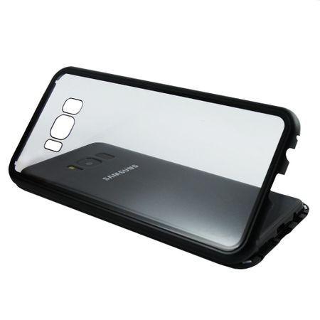 Husa Samsung Galaxy S8 Magnetica 360 grade Black, Perfect Fit cu spate de sticla securizata premium + folie de protectie gratis