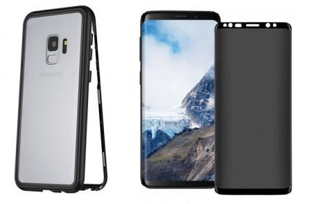 Husa Samsung Galaxy S9 Plus Magnetica cu spate din sticla securizata si folie privacy pentru ecran, Perfect Fit