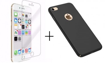 Pachet husa Elegance Luxury slim Antisoc Black pentru Apple iPhone 6 / Apple iPhone 6S cu folie de sticla gratis !