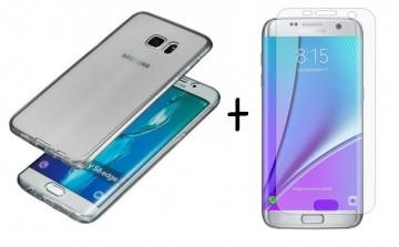 Pachet husa Elegance Luxury Slim Fumurie pentru Samsung Galaxy S7 Edge cu folie de protectie gratis