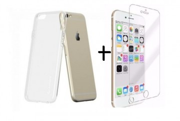 Pachet husa Elegance Luxury slim TPU transparenta pentru Apple iPhone 6 Plus / Apple iPhone 6S Plus cu folie de sticla gratis
