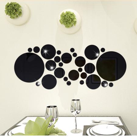 Set Oglinzi Design 3D SILVER ROUND  BLACK - Oglinzi Decorative Acrilice Luxury Home 26 buc/set