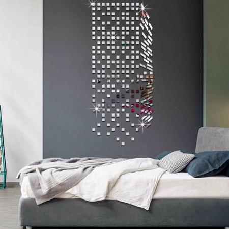 Set Oglinzi Design Patrat - Oglinzi Decorative Acrilice 4/4 Silver 100 buc