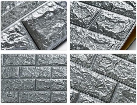 Tapet 3D Silver design perete modern din caramida in relief, Autoadeziv , 77x70 cm