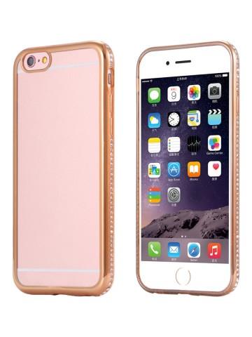 Husa Apple iPhone 6/6S, electroplacata cu diamante Auriu