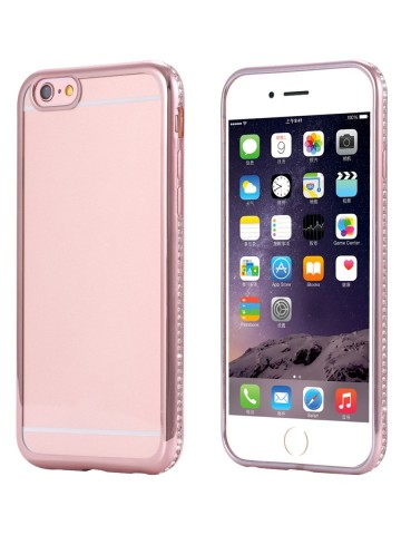 Husa Apple iPhone 7, Elegance Luxury electroplacata cu diamante Rose-Gold