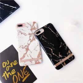 Husa Apple iPhone 7 Plus, Elegance Luxury Marble Black TPU, husa cu insertii marmura neagra-aurie