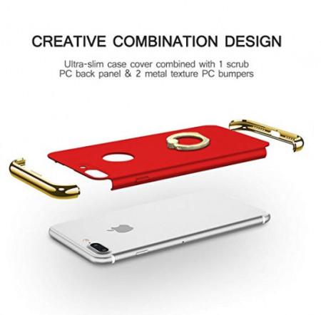 Husa Apple iPhone 8 Plus, Elegance Luxury 3in1 Ring Rosu