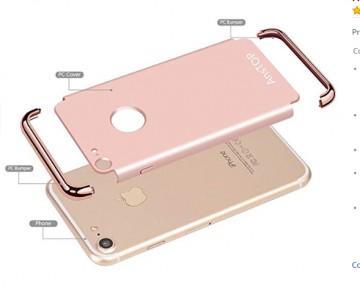 Husa Apple iPhone 8 Plus, Elegance Luxury 3in1 Rose-Gold