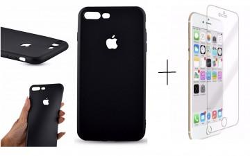 Pachet husa Elegance Luxury Black antisoc cu decupaj logo pentru Apple iPhone 6 / Apple iPhone 6S cu folie de sticla gratis