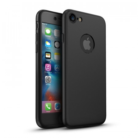 Husa Apple iPhone 8, FullBody Elegance Luxury Black, acoperire completa 360 grade cu folie de sticla gratis
