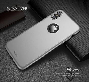 Husa Apple iPhone X, FullBody Elegance Luxury iPaky Argintiu, acoperire completa 360 grade cu folie de sticla gratis
