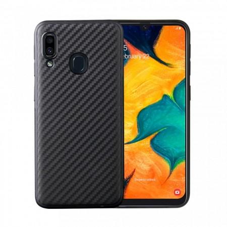 Husa pentru Huawei Y7 2019, Perfect Fit, cu insertii de carbon, negru