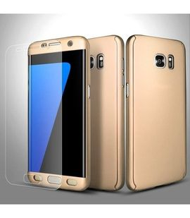 Husa Samsung Galaxy S7 Edge, FullBody Elegance Luxury Gold, acoperire completa 360 grade cu folie de protectie gratis