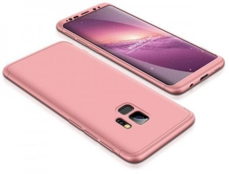 Husa Samsung Galaxy S9 Plus, FullBody Elegance Luxury Rose-Gold, acoperire completa 360 grade cu folie de protectie gratis