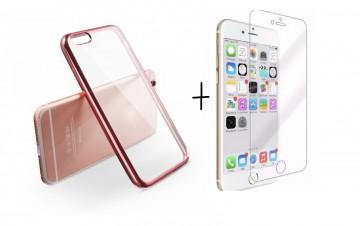 Pachet husa ELEGANCE LUXURY pentru Apple Iphone 6 / Apple Iphone 6S PLACATA Rose-Gold cu folie de protectie gratis