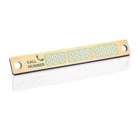 Placa numar telefon fosforescent parcare temporara pentru parbriz, culoare auriu