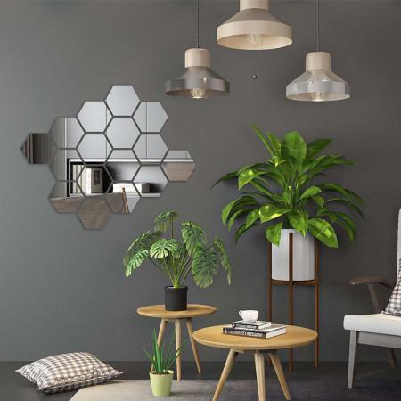 Set Oglinzi Design Hexagon Silver - Oglinzi Decorative Acrilice Cristal - Diamant - Luxury Home 24 bucati/set