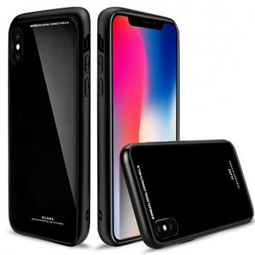 Husa Apple iPhone 7,Elegance Luxury Back Glass, husa cu sticla securizata pe spate de culoare neagra