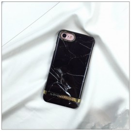 Husa Apple iPhone 7, Elegance Luxury Marble Red TPU, husa cu insertii marmura neagra-aurie