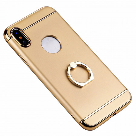 Husa Apple iPhone X, Elegance Luxury 3in1 Ring Auriu